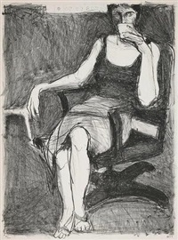 seated woman drinking from a cup by richard diebenkorn