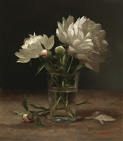 peonies in a glass by sarah k. lamb