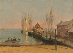 old central wharf, provincetown, massachusetts by frederick j. mulhaupt