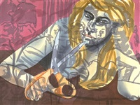 portrait with scissors and nightclub by david salle