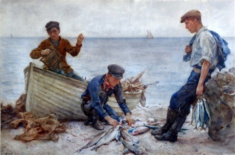 returning with the catch by henry scott tuke