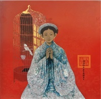 young girl with bird cage by bui huu hung
