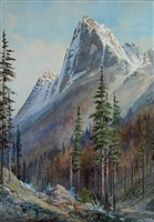 mt. macdonald, train track in the foreground by frederic marlett bell-smith