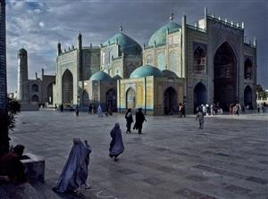 salat at blue mosque in mazar-e-sharif, 1992 by steve mccurry