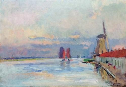 le moulin a vent sur le canal a rotterdam by albert lebourg