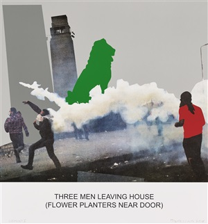 the news: three men leaving house... by john baldessari
