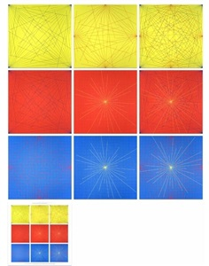 lines in color on color from corners sides and centers to specific points on a grid by sol lewitt
