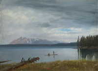 fishing in yellowstone lake by albert bierstadt