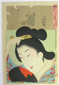 a mirror of the ages, girl with comb by toyohara chikanobu