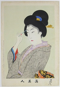 beauty plucking her eyebrows by toyohara chikanobu