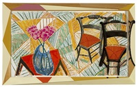 walking past two chairs by david hockney