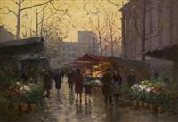 flower market at la madeleine, dusk by edouard léon cortès