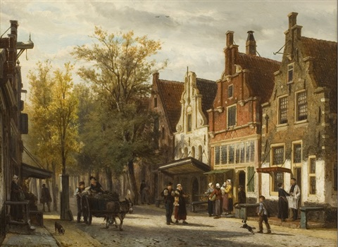 view of the westerstraat, enkhuizen by cornelis springer