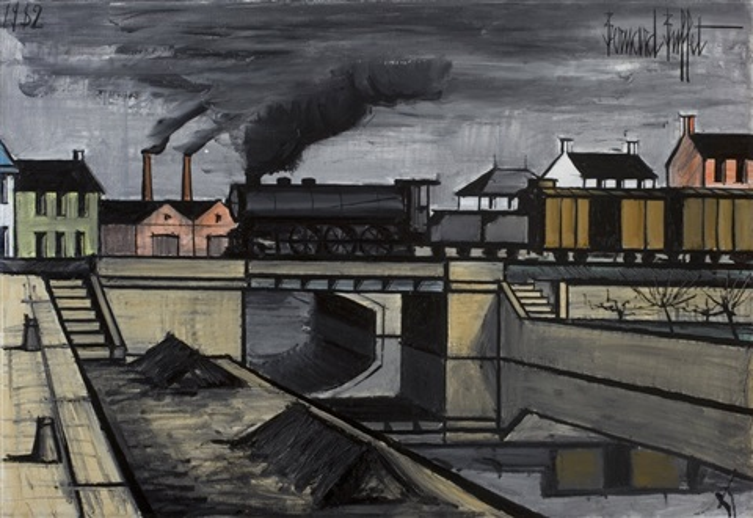 paysage à la locomotive by bernard buffet