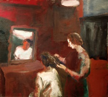 girl getting a haircut by elmer nelson bischoff