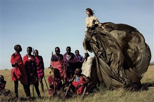 keira knightley with maasai, american vogue by arthur elgort