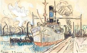 rouen, le port by paul signac