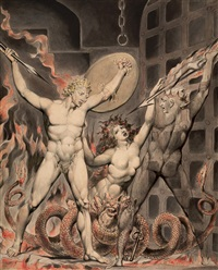 satan, sin, and death: satan comes to the gates of hell by william blake