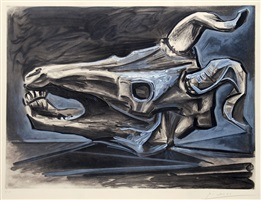 crâne de chèvre sur la table (goat's skull on the table) by pablo picasso