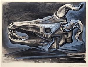 crâne de chèvre sur la table (goat's skull on the table) by pablo picasso