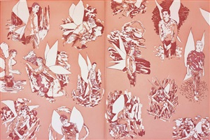 "revised end papers for ""the homosexual neurosis"" (pink) by hernan bas"