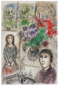 the easel with flowers by marc chagall