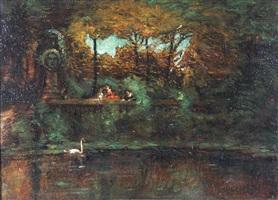 parklandschaft mit kinder und schwan by adolphe joseph thomas monticelli