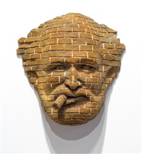 brick face with cigar by robert arneson