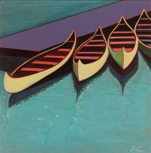 finger lake canoes in yellow by melissa chandon