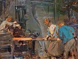 arbeiter im eisenwerk (krupp) by robert hermann sterl