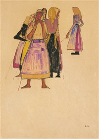 peasant women by egon schiele