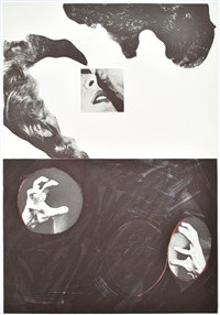 kiss, hair, hands by john baldessari