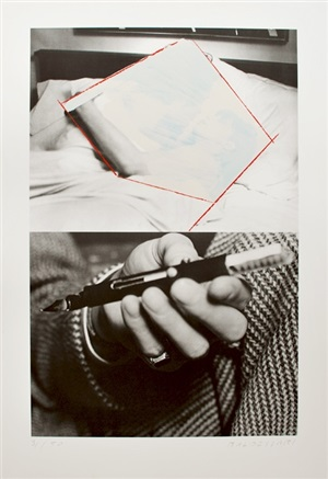 man and woman in bed, obliterated; hand holding fountain (the thing to be concealed) by john baldessari