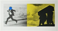 man running; men carrying coffin (fly for my life) by john baldessari