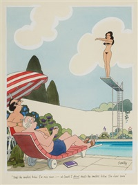 that's the smallest bikini i've ever seen - at least i think that's the smallest bikini i've ever seen, playboy cartoon illustration by francis wilford smith