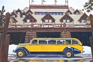 yellowstone bus at old faithful inn by dennis ziemienski