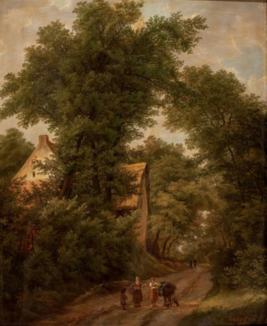 woodland landscape with figure on a path by isabella catherine van assche kindt