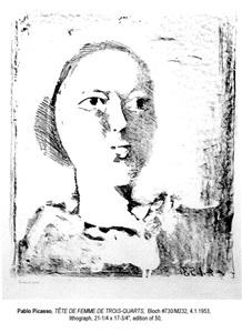 b0730 tête de femme de trois-quarts, 1953 (4 january, vallauris) by pablo picasso