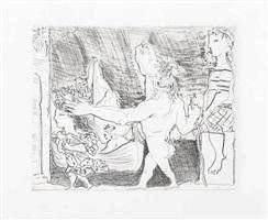 b0223 minotaure aveugle guidé dans la nuit par une petite fille au pigeon (s.v. 96) 1934 (23 october, paris) by pablo picasso