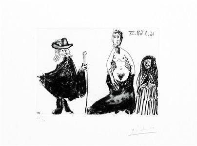 b1575 jeune fille, célestine et petit-maître, 1968 (16 may. iv, mougins) by pablo picasso