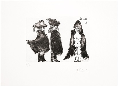 b1576 cavalier et son valet, et jeune fille vêtue d'une mante, 1968 (16 may. v, mougins) by pablo picasso