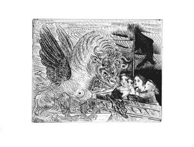 b0229 harpye à tête de taureau, et quatre petites filles sur une tour surmontée d'un drapeau noir (s.v. 13) 1934 (december, paris) by pablo picasso