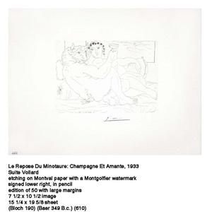 b0190 le repos du minotaure : champagne et amante (s.v. 83), 1933 (17 may, paris) by pablo picasso