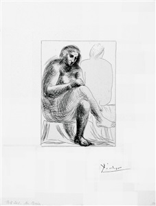 b0136 au bain (s.v. 2), 1930 (1 october, boisgeloup) by pablo picasso