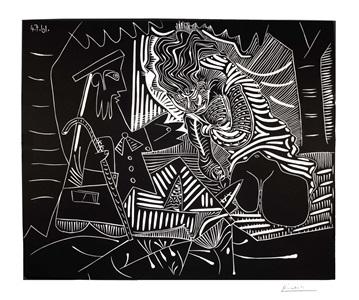 b1023 variation sur le déjeuner sur l'herbe de manet 1961 (4 july; 23 and 24 november, mougins) by pablo picasso