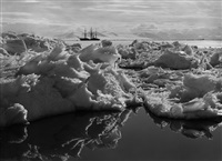 beautiful broken ice, reflections and the terra nova, 7 january 1911 by herbert george ponting