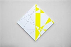 4 trames hybrides 0°90°, 30°120° sur la pointe, blanc jaune, version b, 2012 by françois morellet