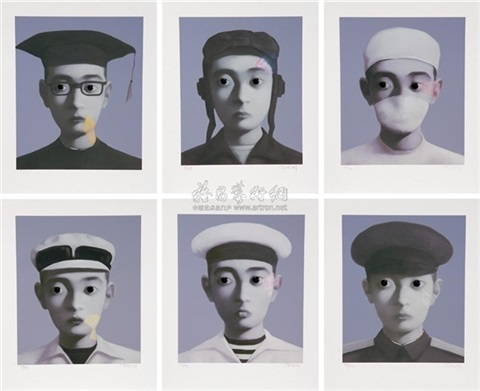 identity portrait i vi complete set of 6 works by zhang xiaogang
