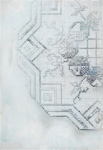 halftone through the grid bleibtreustr. by michael raedecker