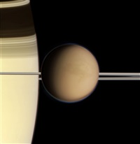 titan and saturn, cassini, may 21, 2004 by michael benson